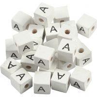 Kirjainhelmi, A, koko 8x8 mm, aukon koko 3 mm, valkoinen, 25 kpl/ 1 pkk
