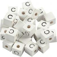 Kirjainhelmi, C, koko 8x8 mm, aukon koko 3 mm, valkoinen, 25 kpl/ 1 pkk