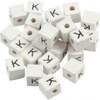 Kirjainhelmi, K, koko 8x8 mm, aukon koko 3 mm, valkoinen, 25 kpl/ 1 pkk