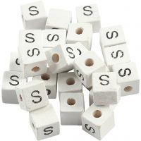 Kirjainhelmi, S, koko 8x8 mm, aukon koko 3 mm, valkoinen, 25 kpl/ 1 pkk
