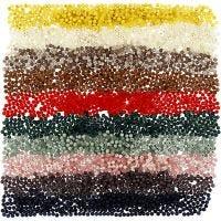 Muovihelmet, halk. 6 mm, aukon koko 1,5 mm, värilajitelma, 10x40 g/ 1 pkk