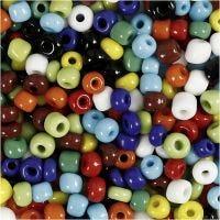 Rocaille-siemenhelmet, halk. 4 mm, koko 6/0 , aukon koko 0,9-1,2 mm, värilajitelma, 1000 g/ 1 tb