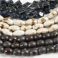 Pottery Beads, Pit. 12-19 mm, aukon koko 2 mm, sininen, harmaanbeige, luonnonvalkonen, 99 kpl/ 1 pkk