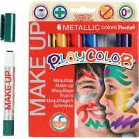 Playcolor-kasvovärikynät, metallinen, värilajitelma, 6x5 g/ 1 pkk