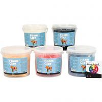 Foam Clay® Helmimassa, perusvärilajitelma, 5x560 g/ 1 pkk