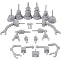 Robotin osat, koko 0,5-6 cm, harmaa, 19 kpl/ 1 pkk