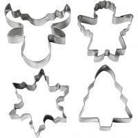 Metallimuotit, joulukuusi, enkeli, poro, lumihiutale , Kork. 8 cm, 4 kpl/ 1 pkk
