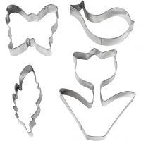 Metallimuotit, kukka, lintu, perhonen, sulka , Kork. 11 cm, 4 kpl/ 1 pkk