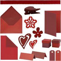 Happy Moments - kortinteko, punainen, viininpunainen, punainen/viininpunainen, viininpunainen/punainen, 160 my/ 1 pkk