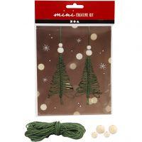 Luova minipakkaus, makrame joulukuusi, Kork. 11 cm, 2 kpl/ 1 set