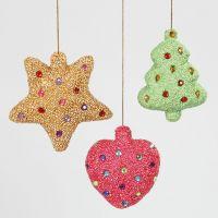 Joulukoristeet Foam Clay:llä ja akryylitimanteilla päällystetyistä styroxista