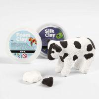 Foam Clay:llä  ja Silk Clay:llä päällystetty paperimassalehmä.