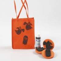 Oranssi Halloween-kassi, jossa painettuja kuvioita