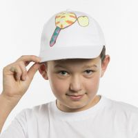 A Cap decorated with a Sports Illustration using Markers