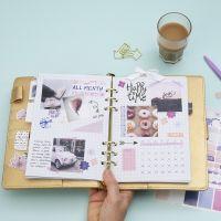 Yleiskatsaus Bullet Journal ja muistikirja tai päiväkirjaan