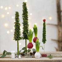 Lasihelmillä koristellut joulukuuset- ja koristeet oikeista viherkasveista