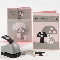 Kortti nahkapaperista tehdyillä sienillä