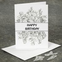 Kukkatarroilla koristeltu kortti