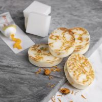 Homemade soap from shea with vanilla and marigold