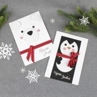 Hauskat eläinaiheiset joulukortit